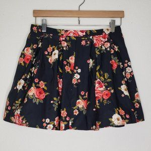 Forever21 Black Floral Mini Skirt
